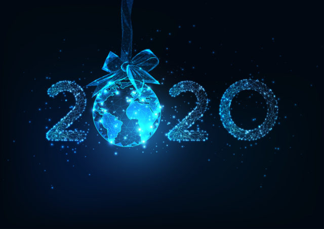 Happy New Year digital web banner with futuristic 2020 number and Earth globe hanging on ribbon bow