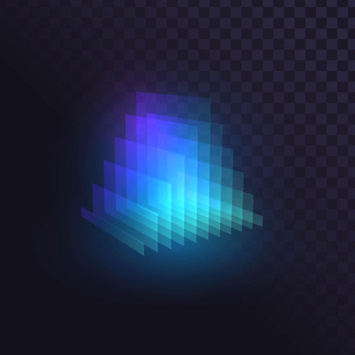 Glowing blue prism