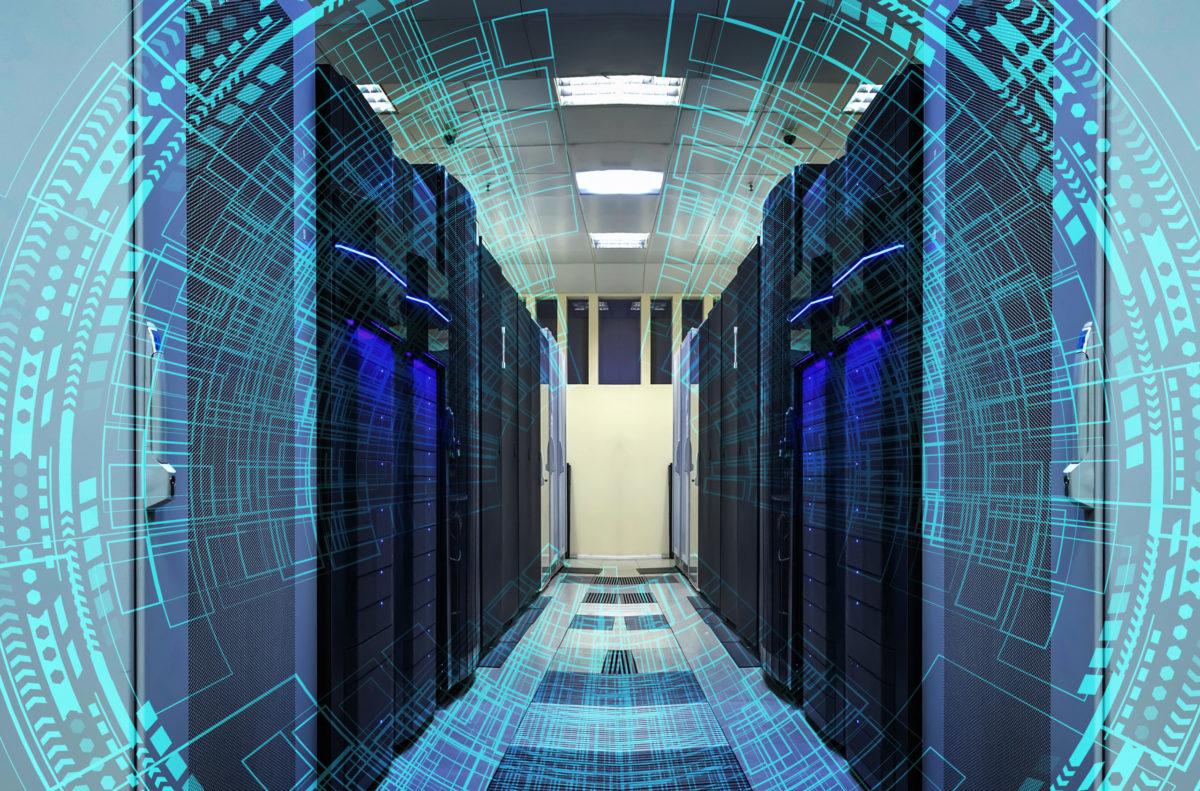 Modern web network and internet telecommunication technology, big data storage cloud computing computer service business concept