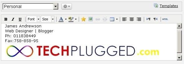 Add Google plus status updates as your Gmail signature.