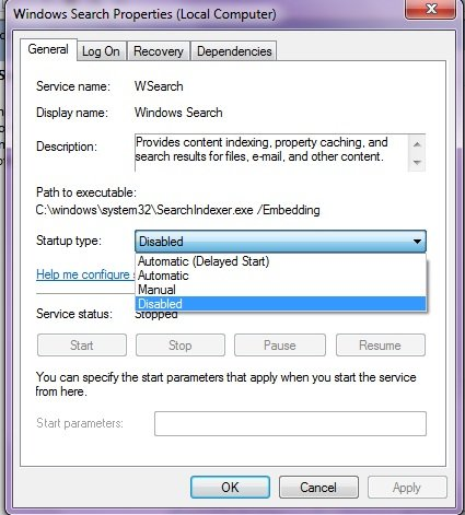How to Stop Indexer for Windows Search ?