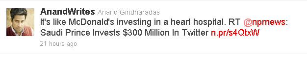 Tweets reacts on twitters 3% purchase by Saudi prince.