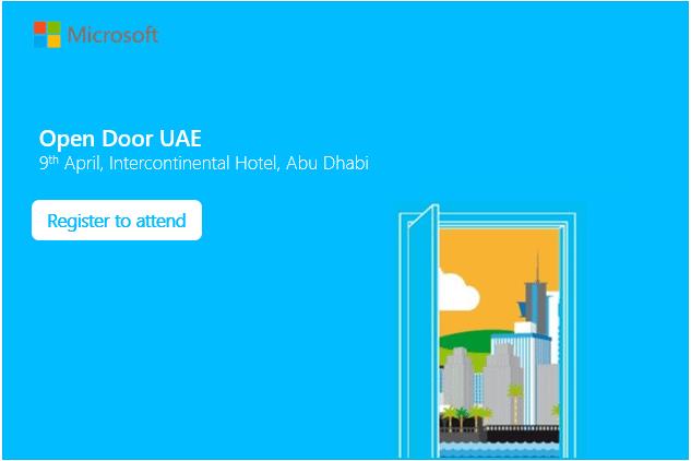 Microsoft Open Door Gulf UAE Edition. #MSFTOpenDoor