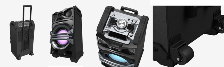 Panasonic's new all-in-one audio system looks like a travelers trolley bag.