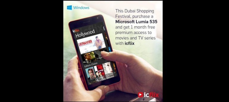Buy Microsoft Lumia 535 during DSF & get free 1-Month ICFLIX subscription .