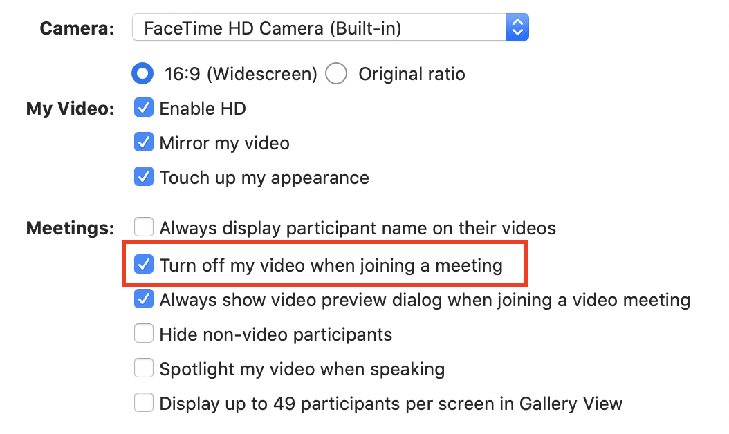 How to toggle video on/off in a Zoom meeting