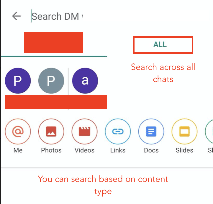 How to search in Google Chat