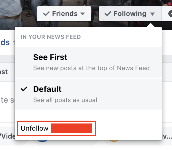 How to unfollow a user on Facebook