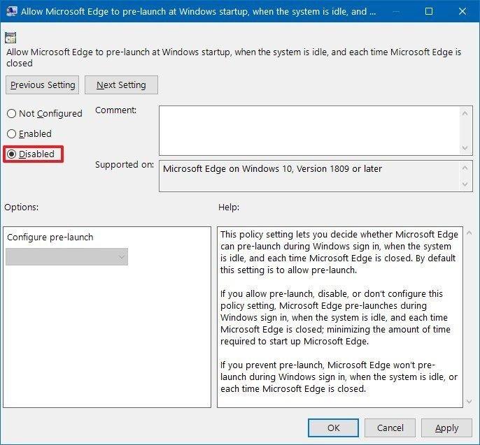 Kako spriječiti otvaranje Microsoft Edgea pri pokretanju
