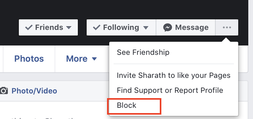 How to block a user on Facebook