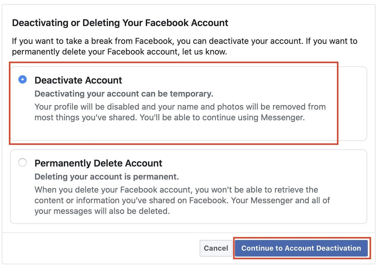 nonaktifkan akun di Facebook