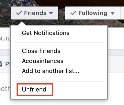 How to unfriend a user on Facebook