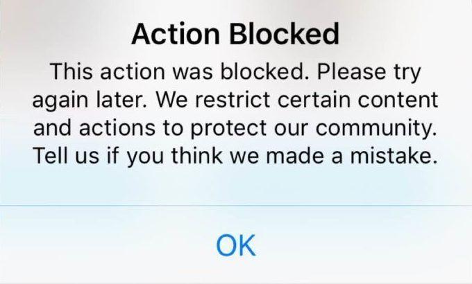 actie geblokkeerd Instagram