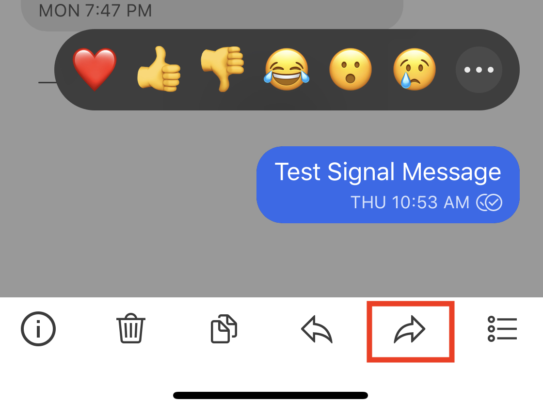 How to forward a message on the Signal Messaging app ?