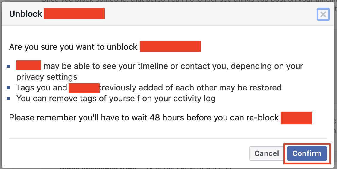 How to unblock a user on Facebook