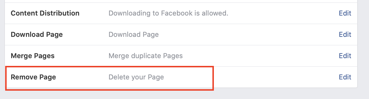 delete a page on Facebook