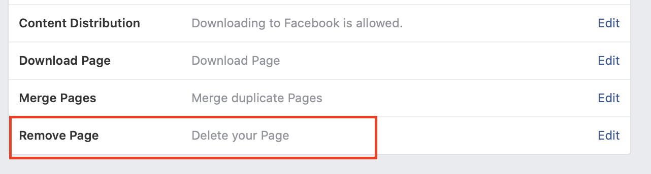 lösche eine Seite auf Facebook