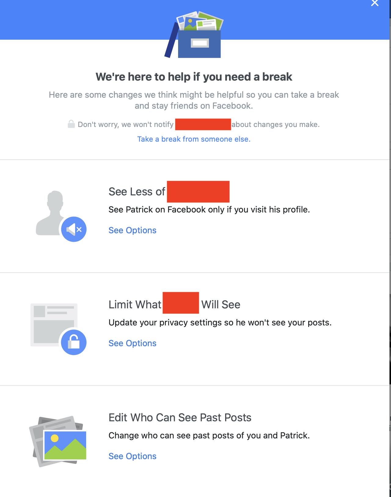 Cara mengambil istirahat dari seseorang di Facebook
