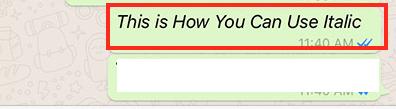 Sådan indtastes kursiv på WhatsApp