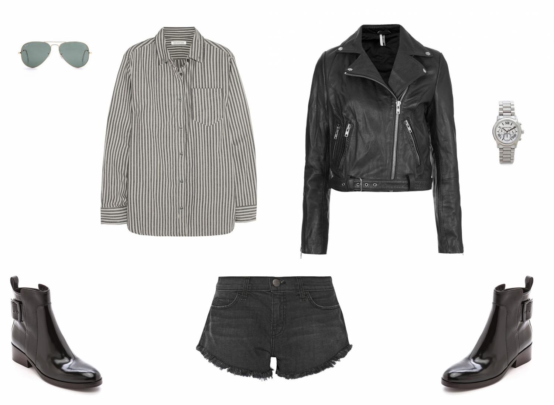 striped shirt, leather jacket, shopping, inspiration, blogger, style