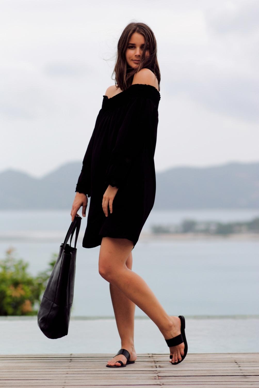 harper and harley_off the shoulder black dress_travel_thailand_koh samui_04