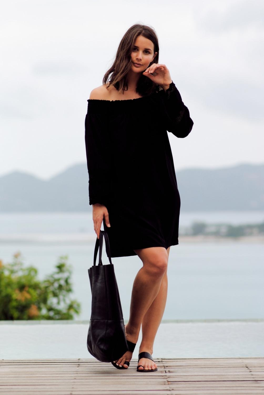 harper and harley_off the shoulder black dress_travel_thailand_koh samui_05