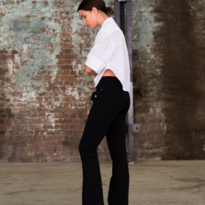 white tome shirt and black denim flares