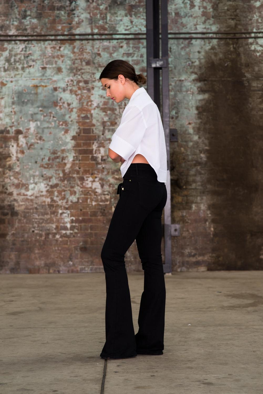 white tome shirt and black denim flares