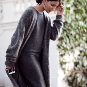 grey acne cardigan knit and grey knit dress