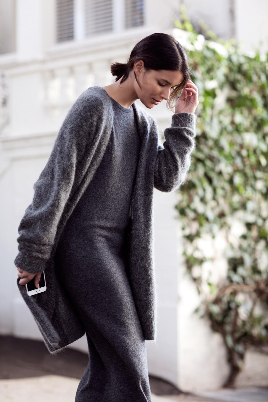 grey acne cardigan knit and grey knit dress