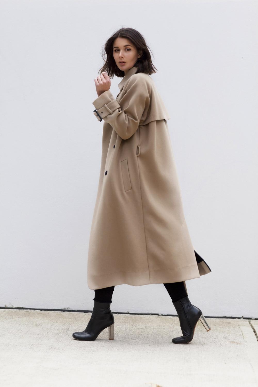 Camel beige trench long coat