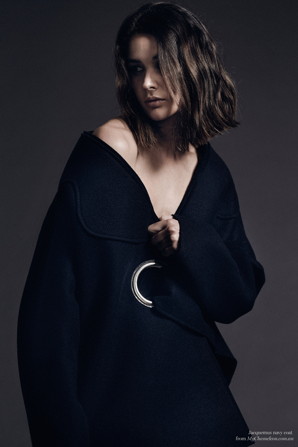 Navy Jacquemus coat, editorial, Harper and Harley