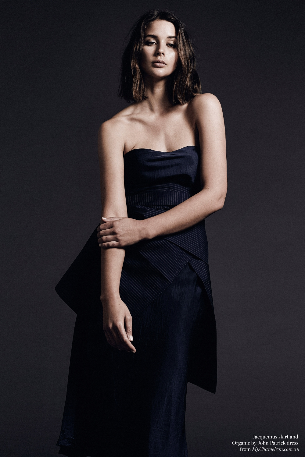 navy silk dress and jacquemus skirt, editorial, Harper and Harley