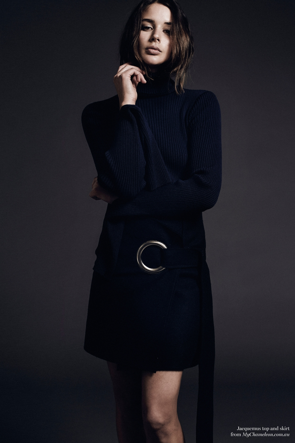 Jacquemus navy knit and skirt, editorial, Harper and Harley