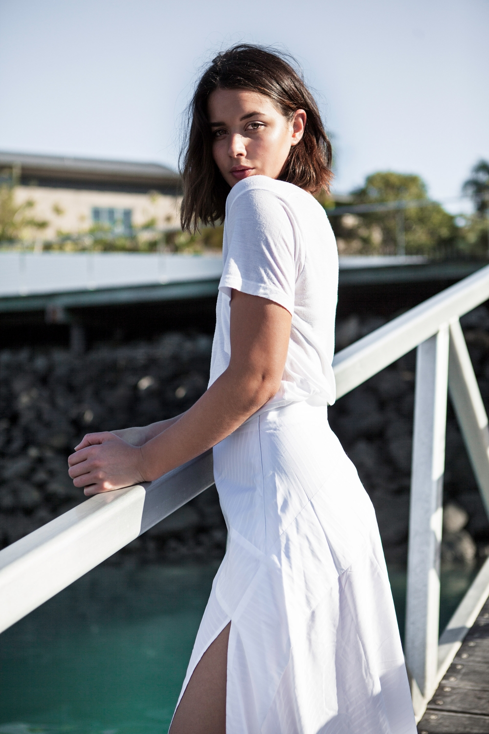 white t-shirt and maxi skirt, michael lo sordo, net-a-porter