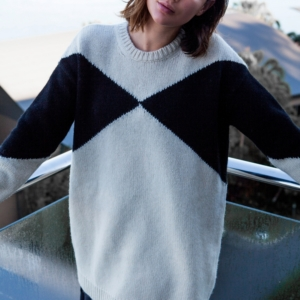 Sara Donaldson Harper and Harley wearing Valentino oversized cream and black knit jumper from Net-a-porter
