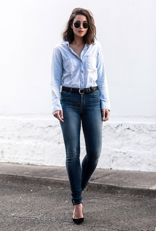 denim shirt and denim jeans double denim