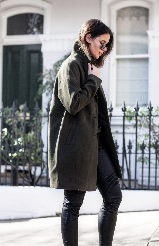 khaki coat and brand leather pants | HarperandHarley