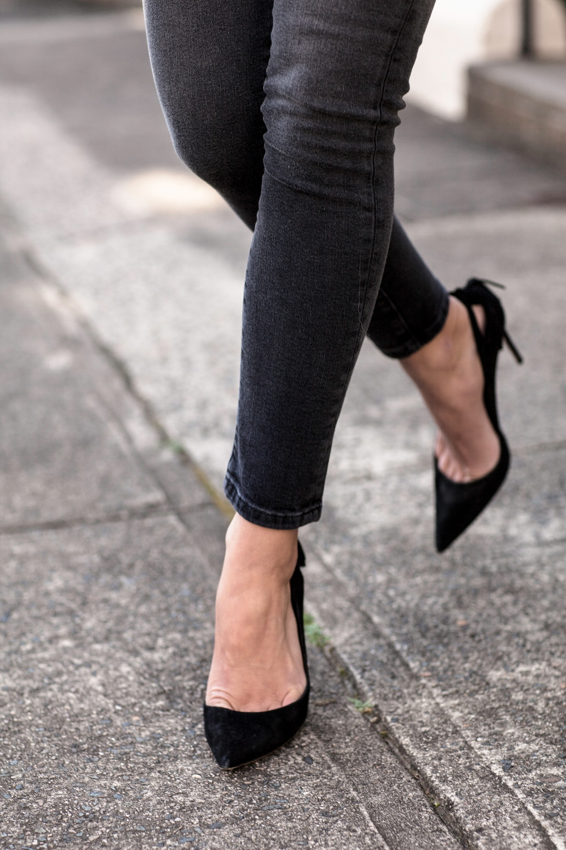 IRO black leather jacket and jeans | HarperandHarley