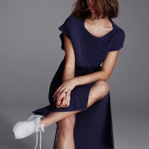 Dion Lee navy knitwear and white sneakers | HarperandHarley