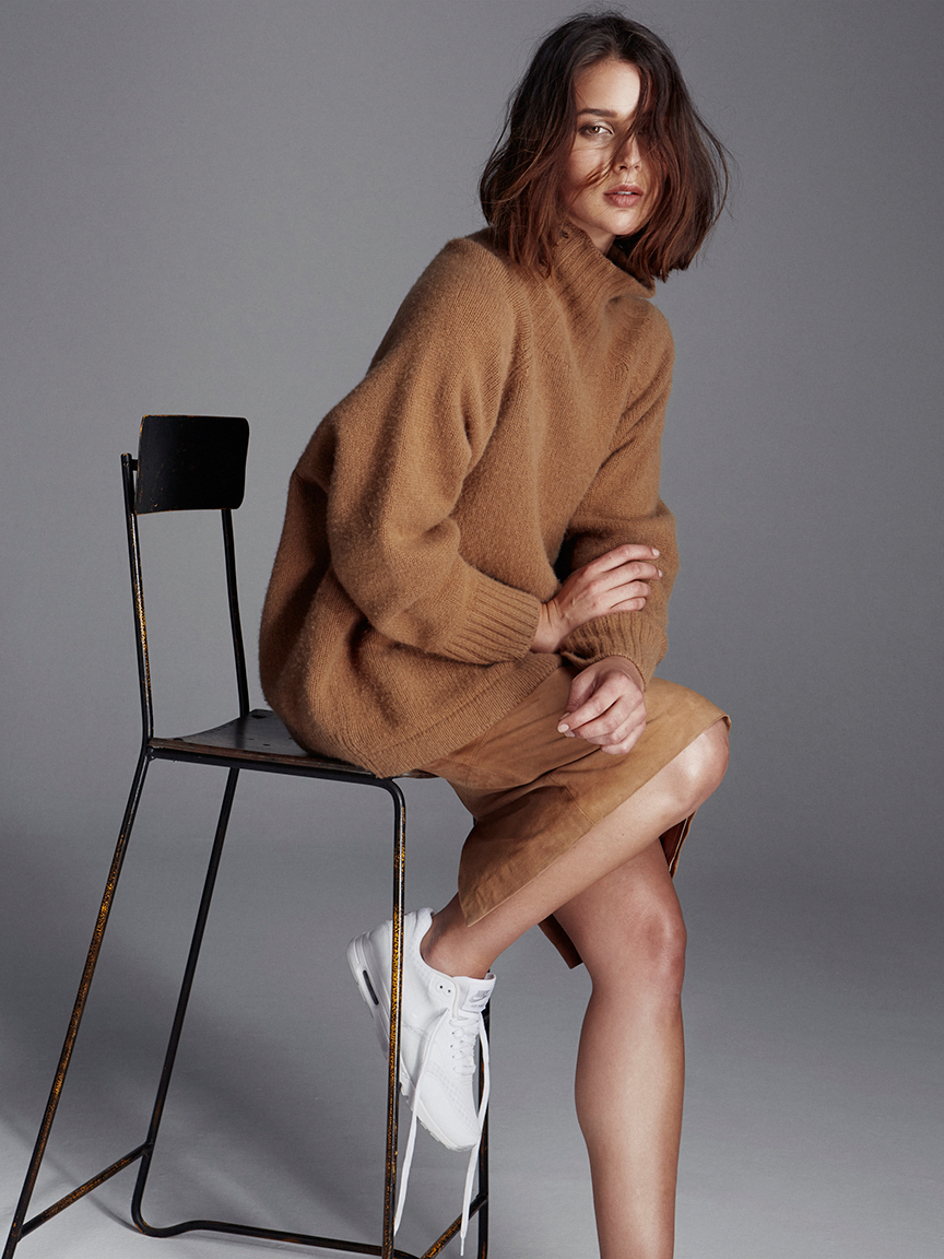 Max Mara camel knitwear, suede lover skirt and white sneakers  | HarperandHarley