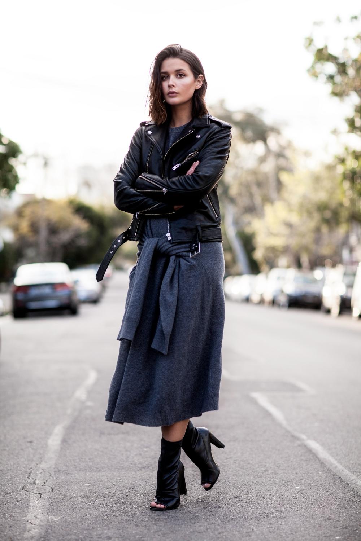 IRO black leather jacket, Joseph grey knot dress and Stuart Weitzman black booties