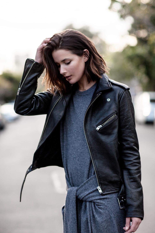 IRO black leather jacket and Joseph grey knot dress