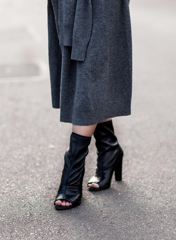 joseph grey knot dress and Stuart Weitzman black booties