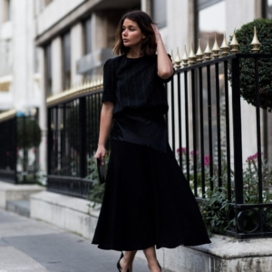 sara donaldson from harper and harley wearing j.w. anderson skirt and Maje top from The Outnet