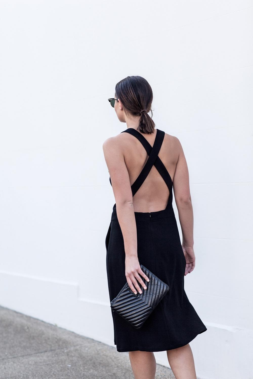 criss cross black pinafore dress