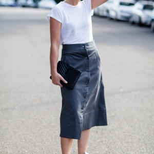 white t-shirt and button up A-line midi skirt by rachel come