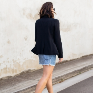 denim overalls and black blazer