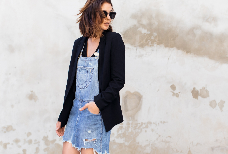 denim overalls and black blazer