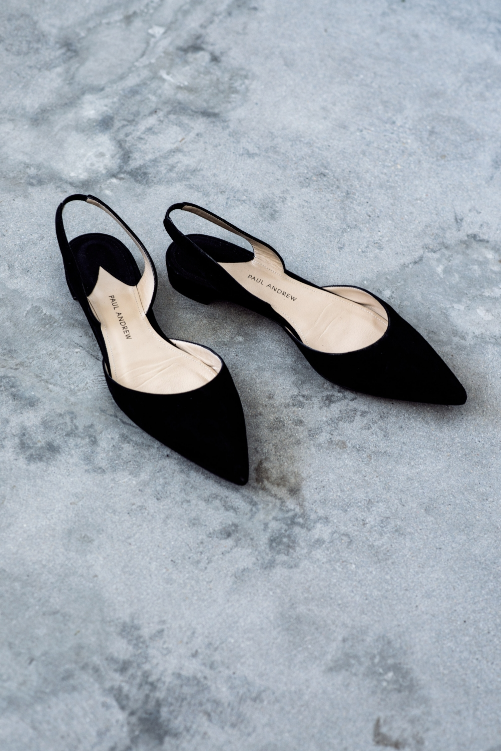 paul andrew black suede pointed black slingback flats | Harper and Harley